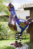 Famous and colorful sculpture of a chicken in Porto de Galinhas. Royalty Free Stock Photography