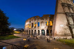 Famous colosseum during evening. Hours Stock Photos