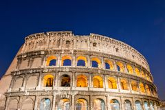 The famous colosseum during evening hours. Famous colosseum during evening hours Royalty Free Stock Photos