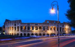 The famous Colosseum at night, Rome, Italy. royalty free stock photos
