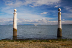 Famous Columns Wharf (Cais das Colunas) at Commerce Square Royalty Free Stock Photography
