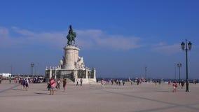 Famous Comercio Square in the center of Lisbon - LISBON / PORTUGAL - JUNE 14, 2017. Famous Comercio Square in the center of Lisbon - LISBON, PORTUGAL 2017 stock video
