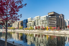 Famous Confluence District with people in Lyon royalty free stock image