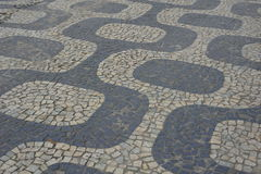 Famous Copacabana Sidewalk near beach . Stock Images