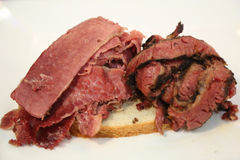 Famous Corned Beef and Pastrami on rye sandwich Stock Image