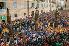 The famous corsa dei ceri in the main square of Gubbio for Sant`Ubaldo. Umbria, Italy Royalty Free Stock Image