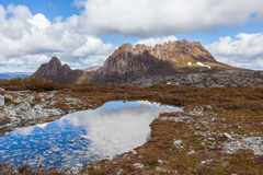 Famous Cradle Mountain in the National Park named after it in Ta Stock Images
