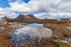 Famous Cradle Mountain in the National Park named after it in Ta Stock Photo