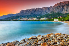 The famous Croatian riviera at sunset,Makarska,Dalmatia,Croatia Royalty Free Stock Images