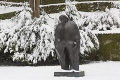 Famous Croatian writer Miroslav Krleža monument in Zagreb in winter time. Miroslav Krleža was born in Zagreb. He enrolled in a preparatory military school in P Royalty Free Stock Photo