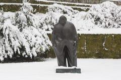 Famous Croatian writer Miroslav Krleža monument in Zagreb in winter time. Miroslav Krleža was born in Zagreb. He enrolled in a preparatory military school in P Royalty Free Stock Photos