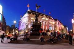 Famous crossroad Piccadilly Circus night life Stock Photos