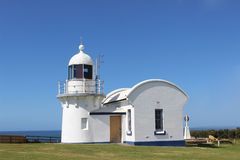 Crowdy Head Light on a sunny day. The famous Crowdy Head lighthouse (mid north coast, NSW, Australia) against clear blue sky Stock Image