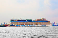 Famous cruise liner AIDA leaves the harbor Royalty Free Stock Images