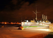 Famous cruiser Aurora at night Stock Photography