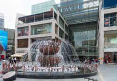 Famous crystal fountain outside the Pavillion Shopping Mall. Royalty Free Stock Photos