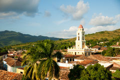 Famous Cuban city Trinidad with old church tower Convent of Sain Stock Images