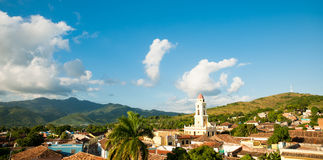 Famous Cuban city Trinidad with old church tower Convent of Sain Royalty Free Stock Images