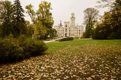 Famous Czech castle. Hluboka nad Vltavou, medieval building with beautiful autumn park, travel outdoor european background stock photography