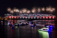 The famous Dadaocheng firework show in Taipei Royalty Free Stock Photography