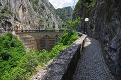 Famous dam in canyon Matka, Macedonia stock images