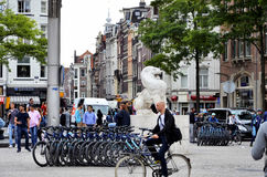 The famous Dam square in Amsterdam Royalty Free Stock Images