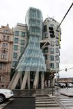 Prague, Czech Republic, January 2015. The famous `Dancing House`. stock photography