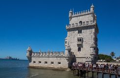 Famous defense tower belem. Road trip through Portugal from Lisbon to Sintra famous defense tower belem royalty free stock photo