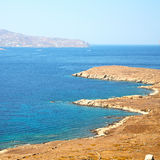 Famous   in delos greece the historycal acropolis and old ruin s. In delos         greece the historycal acropolis and         old ruin site Royalty Free Stock Photo