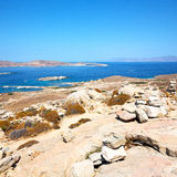 Famous   in delos greece the historycal acropolis and old ruin s. In delos         greece the historycal acropolis and         old ruin site Stock Photo