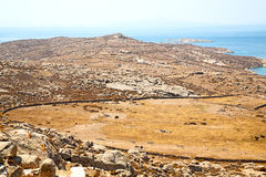 Famous   in delos greece the historycal acropolis and old ruin s. In delos         greece the historycal acropolis and         old ruin site Stock Images