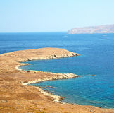 Famous   in delos greece the historycal acropolis and old ruins Stock Photos
