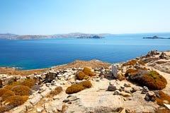 Famous   in delos greece   historycal acropolis   ruin site. In delos         greece the historycal acropolis and         old ruin site Stock Photo