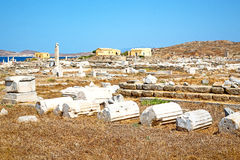 Famous   in delos greece   historycal   and   site. In delos         greece the historycal acropolis and         old ruin site Royalty Free Stock Image