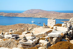 Famous   in delos  the historycal   ruin site. In delos         greece the historycal acropolis and         old ruin site Stock Image