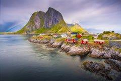 Famous destination in Norway Reine village. Norway. Lofoten islands. Famous destination in Norway Reine village Stock Images