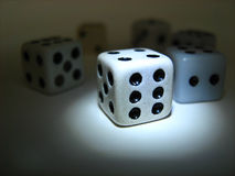 Famous dice. Highlighted lucky dice among more Royalty Free Stock Image