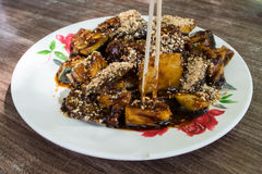 The famous dish of fruits Rojak stock image