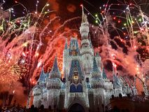 Christmas Celebration. The famous Disneyworld palace displaying fireworks to celebrate Christmas and New Years Eve royalty free stock images