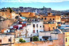 In the famous district of the tanners in the Kingdom City in Fes in Morocco Royalty Free Stock Photos