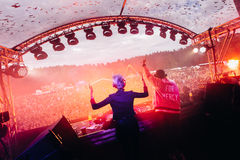 Famous Dj`s playing in festival royalty free stock photo
