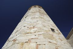 Famous dodecagonal tower with bell tower in Amelia, Umbria, Italy stock image