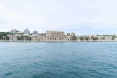 Famous Dolmabahce Palace in Istanbul, as seen from a Bosphorus Ferry, in Turkey royalty free stock photos