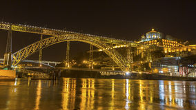 Famous Dom Luis I Bridge at night time in Porto Royalty Free Stock Photos