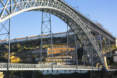 Famous Dom Luis I Bridge in Porto, Portugal. Travel. Royalty Free Stock Photos