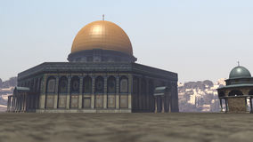 Famous Dome of the Rock in Jerusalem. A 3D rendered image of the Dome of the Rock in Jerusalem. You see the exterior of the arabic temple with its azure blue vector illustration