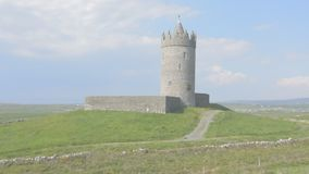 Famous Doonagore Castle in County Clare on the Wild Atlantic Way route, in Ireland Europe. stock video