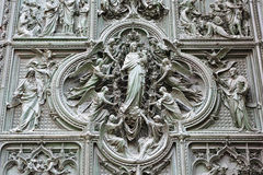 Famous Door Entrance at Milan Duomo Stock Photography