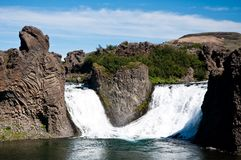 Famous double waterfall, Iceland Royalty Free Stock Images