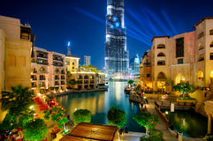 Famous downtown area in Dubai at night. United Arab Emirates. Stock Image